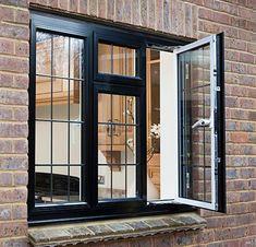 تصویر پنجره upvcبا ایمپلنت مشکی